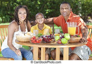 jedzenie, rodzina, zdrowy, amerykanka, zewnątrz, afrykanin