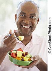 jedzenie, sałata, środek, owoc, świeży, sędziwy, człowiek