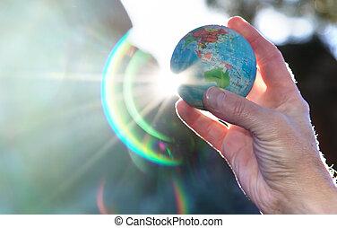 jego, człowiek, mapa, ręka, kula, anti-stress, dzierżawa, ziemia