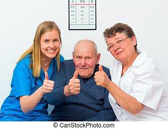 jego, do góry, starszy, caregivers, kciuki, człowiek