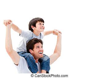 jego, jazda, radosny, ojciec, udzielanie, syn, piggyback
