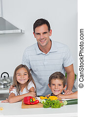 jego, portret, dzieci, kuchnia, ojciec
