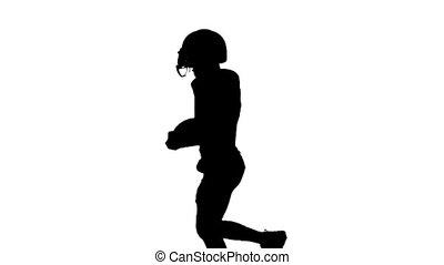 jego, wzdryga się, piłka, wręczać ruch, gracz, powolny, run.