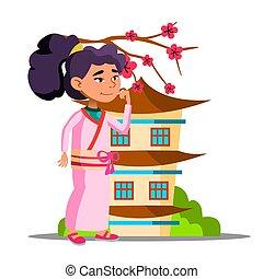 jej, dom, odizolowany, ilustracja, asian, vector., dziewczyna, sakura