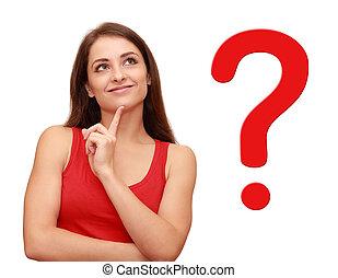 jej, myślenie, pytanie, do góry, znak, patrząc, dziewczyna, czerwony