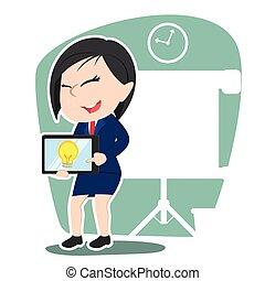 jej, tabliczka, kobieta interesu, idea, chińczyk, prezentacja