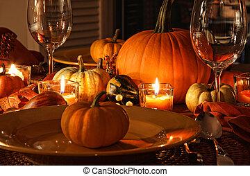 jesień, świąteczny, miejsce, dynie, inscenizacje