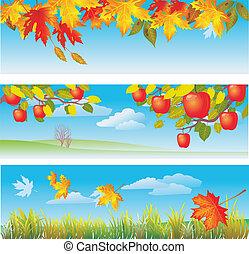 jesień, chorągwie, trzy