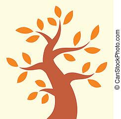 jesień, drzewo, ikona