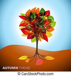 jesień, drzewo, ilustracja