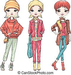 jesień, dziewczyna, komplet, fason, odzież