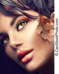 jesień, fall., kobieta, portrait., makijaż