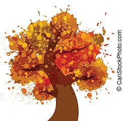 jesień, grunge, drzewo, ikona