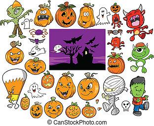 jesień, halloween, wystawiany zamiar, wektor