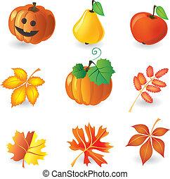 jesień, komplet, ikony