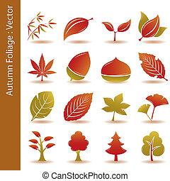 jesień, komplet, liść, liście, ikony