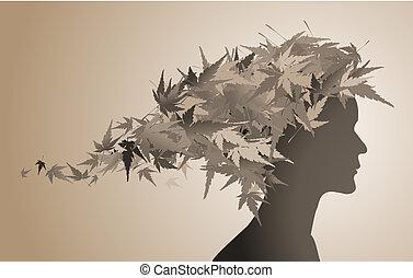 jesień, kwiatowy, dziewczyna, sylwetka