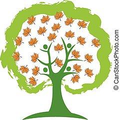 jesień, logo, drzewo, liście, ludzie