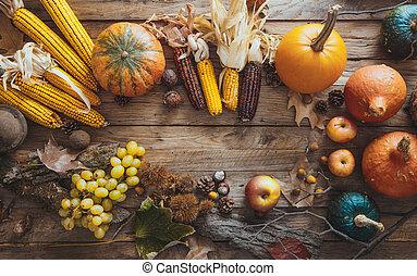 jesień, owoc, zmontowanie