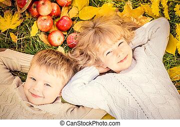 jesień, park, dzieci