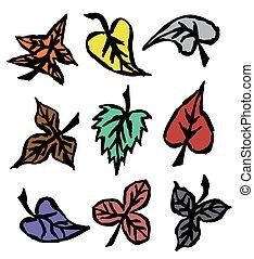 jesień, pociągnięty, liście, grunge, ręka