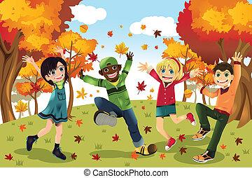 jesień, pora, dzieciaki, upadek
