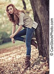 jesień, portret, kobieta, szczupły, młody