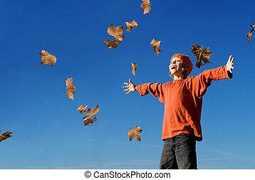 jesień, rozkrzyczany, upadek, koźlę, śpiew, albo, szczęśliwy