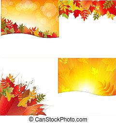 jesień, tła, liście