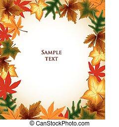 jesień, tło., liście, wektor, ułożyć