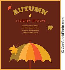 jesień, time., umbrela, liście, spadanie