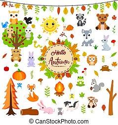 jesień, zwierzęta, cielna, komplet, sprytny