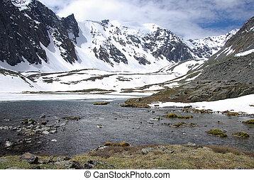 jezioro, góra, tło, wysoki