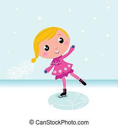 jezioro, mrożony, sprytny, winter:, dziecko, lód łyżwiarstwo