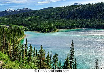 jezioro, yukon, szmaragd