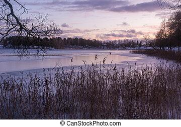 jezioro, zima, time., wieczorny, piękny, krajobraz