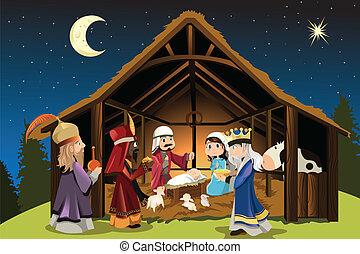 jezus, mężczyźni, mądry, chrystus, trzy