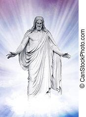 jezus, wskrzeszony, niebieski, chmury