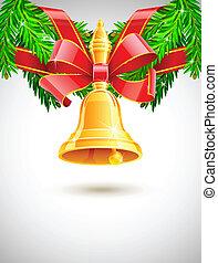 jodła, dekoracje, złoty dzwon, czerwony, boże narodzenie, wstążka