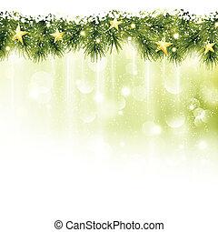 jodła, złoty, gwiazdy, lekki, gałązki, zielone tło, brzeg, miękki