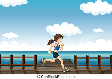 jogging, kobieta, młody