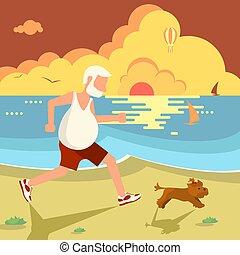 jogging, pies, człowiek