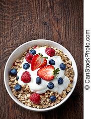 jogurt, świeży, jagody, puchar, muesli