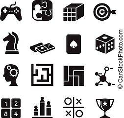 joypad, komplet, ikony, jarzyna pokrajana w kostkę, wyrzynarka, , ilustracja, zagadka, gra, wektor, zdezorientować