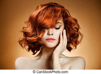 kędzierzawy włos, piękno, portrait.