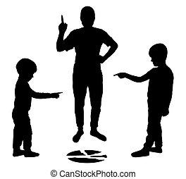 kłamstwo, kropka, dzieci, pokaz, sylwetka, wektor, ich, inny., thumb., palce, gniewny, rodzic, złamany, każdy, płyta., parents.