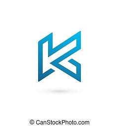 k, elementy, szablon, logo, ikona, litera, projektować