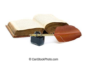 kałamarz, pióro, książka, tło, biały, otwarty