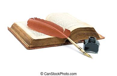 kałamarz, stary, pióro, książka, tło, biały, otwarty