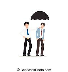 każdy, przyjaciel, handlowy, white., odizolowany, litera, inny., płaski, ilustracja, rysunek, projektować, porcja, umbrella., pojęcie, człowiek, udzielanie